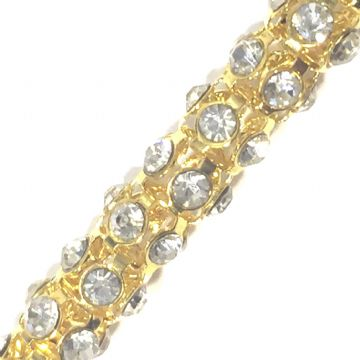 6mm Clear rhinestone gold colour reticulated chain -- 1meter